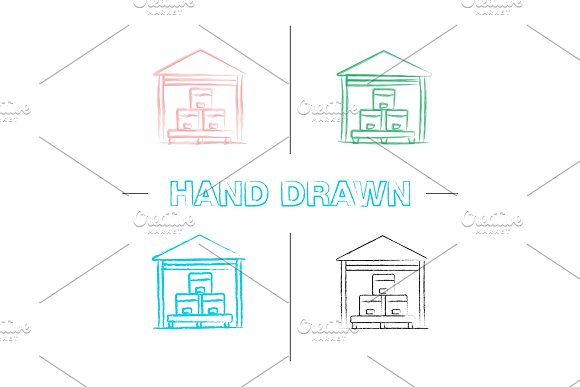 Warehouse Hand Drawn Icons Set