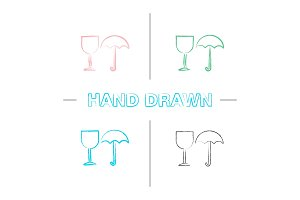 Fragile hand drawn icons set