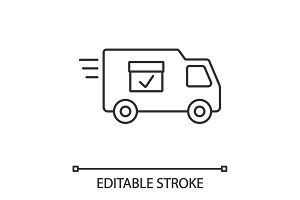 Delivery van with checkmark linear icon
