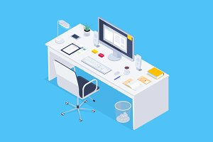 Set of 4 isometric workplace