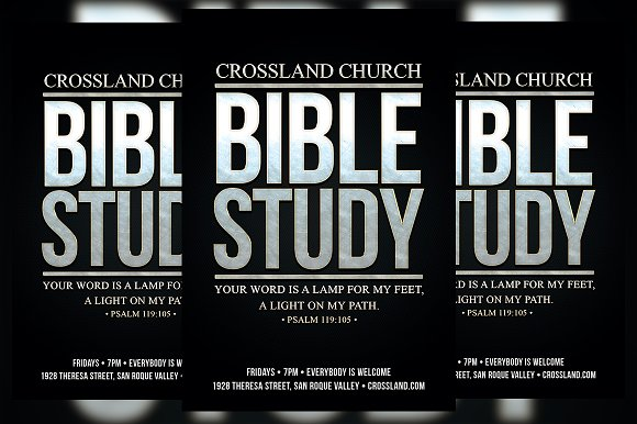 bible study church flyer flyer templates on creative market. Black Bedroom Furniture Sets. Home Design Ideas