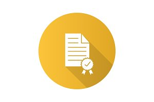 Certificate flat design long shadow glyph icon