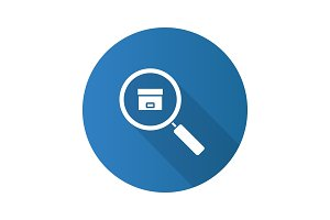 Parcel tracking service flat design long shadow glyph icon
