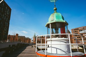 Old beacon or small lighthouse in Hamburg Hafencity