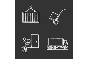 Cargo shipping chalk icons set