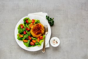 Vegan cutlet with salad