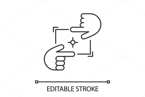 Hands Frame Linear Icon
