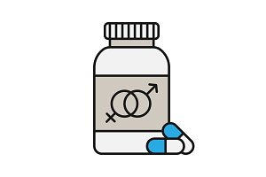 Sex pills for men and women color icon