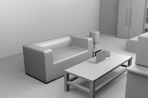 a sofa 3D rendered