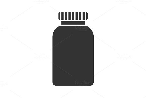 Prescription pills bottle glyph icon