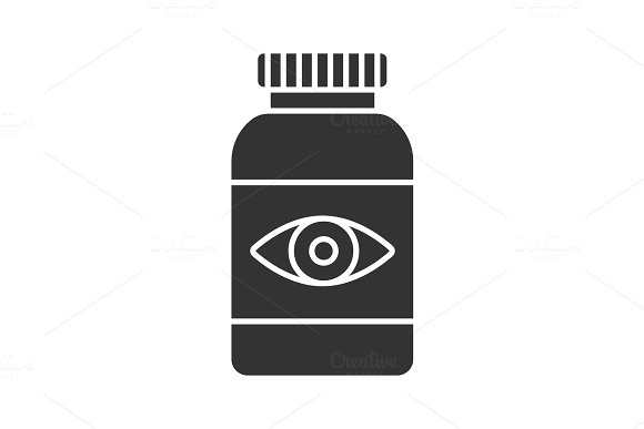 Eye pills glyph icon