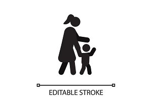 Mother with child in side view silhouette icon