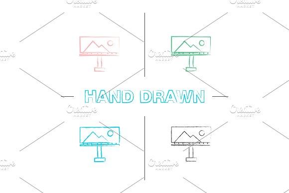 Billboard Mockup Hand Drawn Icons Set