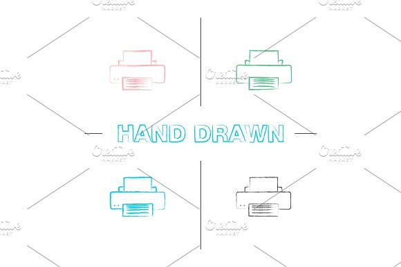 Printer Hand Drawn Icons Set