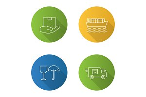 Cargo shipping flat linear long shadow icons set