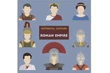 Set of historical avatars. Roman Emp