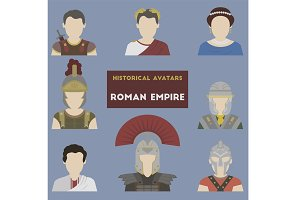 Set of historical avatars. Roman Emp