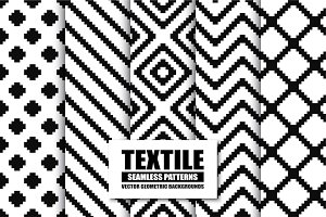 Textile seamless patterns.B&W design