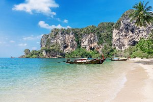 traditional longtail boats, tropical sea Thailand