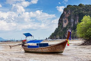 traditional exotic longtail boats, tropical sea