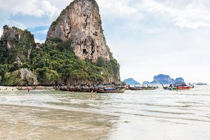 Thailand, Krabi province, Railay beach - 2017 February 25: Amzing landscape with traditional longtail boats, on tropical Andaman sea