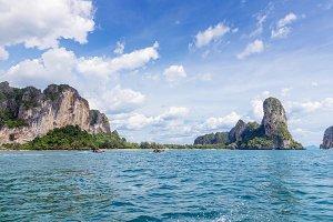 Popular travel tropical karst rocks Railay