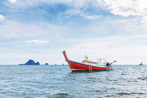 landscape traditional longtail boats tropical sea