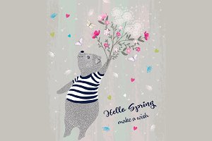 Cute bear vector-Hello spring slogan