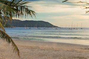 Sailboats resting Kata Beach Phuket