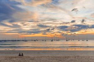 Sailboats at Kata Beach Phuket island Thailand