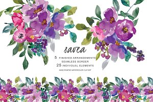 Watercolor Purple Flowers Clipart