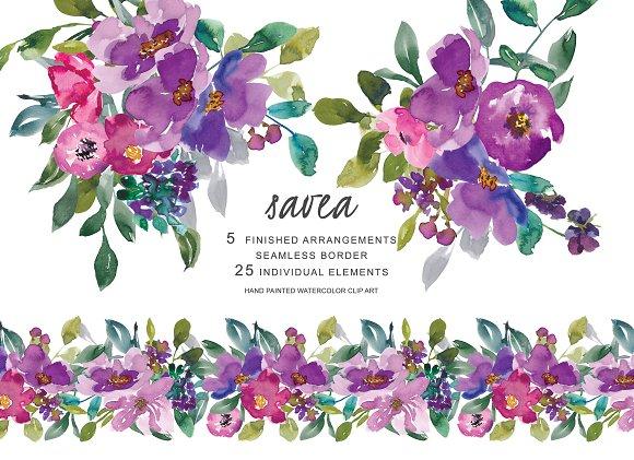 Watercolor Purple Flowers Clipart