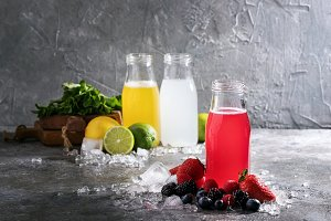Raspberry and lemon lemonades