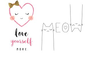 Cute cat meow slogan.Heart Face.