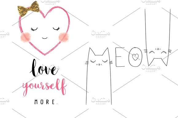 Cute Cat Meow Slogan.Heart Face