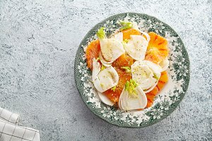 Fresh salad with red orange and fennel