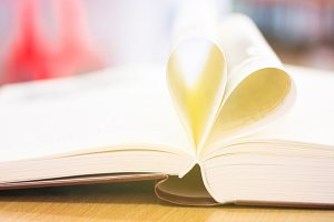 Heart from a book page