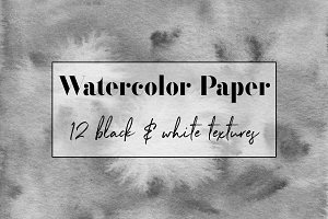 Black & White Watercolor Textures