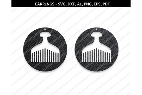 Afro Comb Earring Svg Dxf Ai Eps Png
