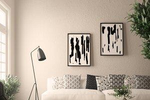 room - wall mockup - poster mockup