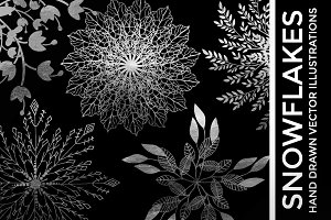Silver Foil Vector Snowflake Clipart