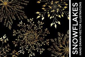 Gold Foil Vector Snowflake Clipart