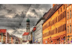 Buildings on Maximilianstrasse in Augsburg - Germany