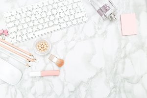 Feminine desktop. Marble background