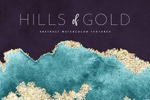 Watercolor Texture Gold Foil