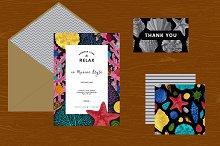Seashells. Card, Pattern, Set.
