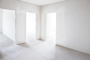 White room with three entrances