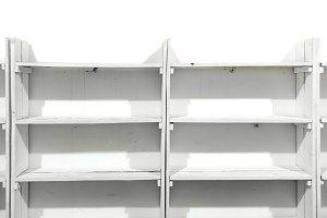 White wooden empty shelves
