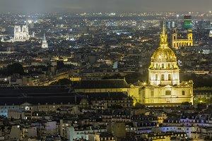 Iluminated dome in Paris at night