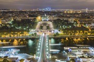 Seine river and Trocadero in Paris